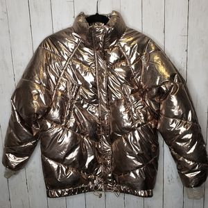 H&M Gold Metallic Puffer Quilted Jacket Bomber